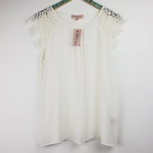 Philosophy White Sheer Lace Camisole  Sz L NWT
